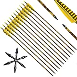 Narchery Pfeile, 12 Stück 31 Zoll Camo Bogenpfeile Carbon Pfeile mit Naturfeder für Bogen, Recurvebogen, Langbogen und traditionellen Bogen